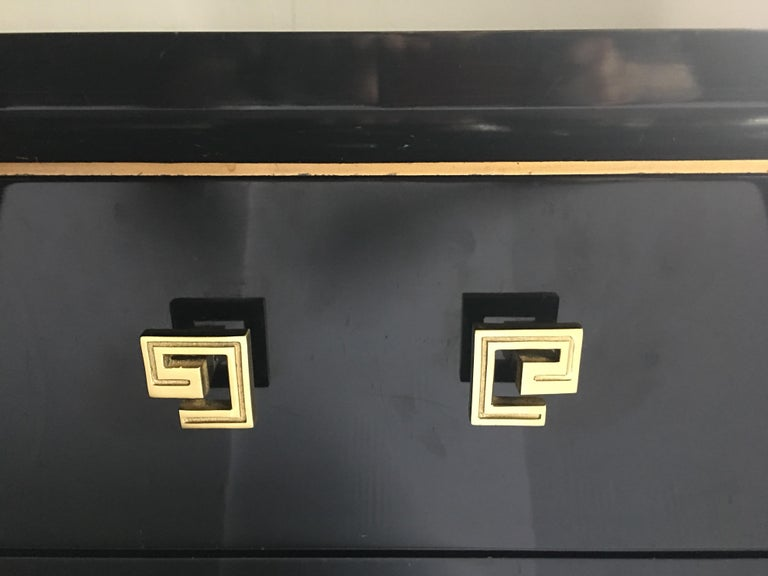 Art Deco Style Lacquer and Gilt Greek Key Dresser For Sale 5