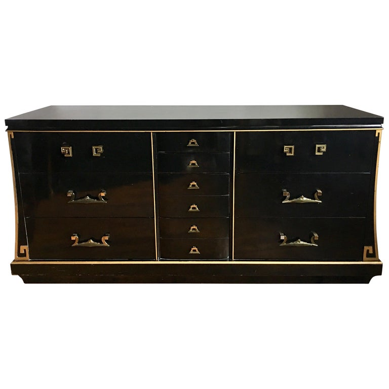 Art Deco Style Lacquer and Gilt Greek Key Dresser For Sale