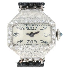 Art Deco-Style Ladies Watch Platinum & 14k Gold Onyx Mechanical 2 Yr Wnty .20ctw