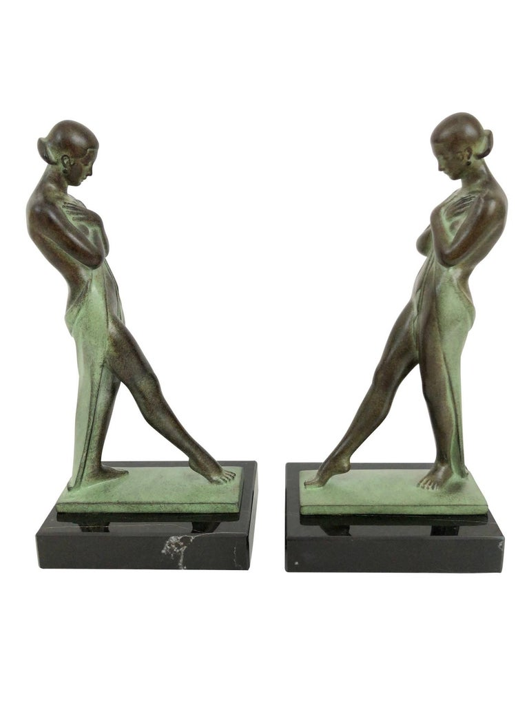 French Art Deco Style Lady Bookends Meditation by Pierre Le Faguays for Max Le Verrier For Sale