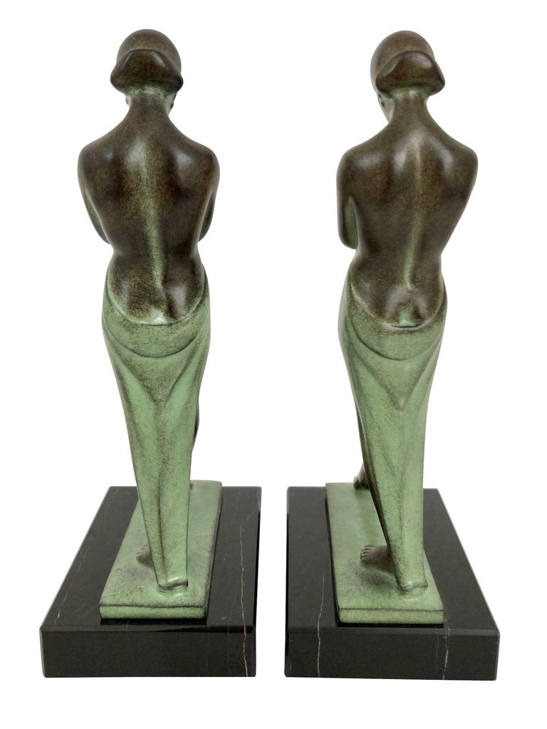 Patinated Art Deco Style Lady Bookends Meditation by Pierre Le Faguays for Max Le Verrier For Sale