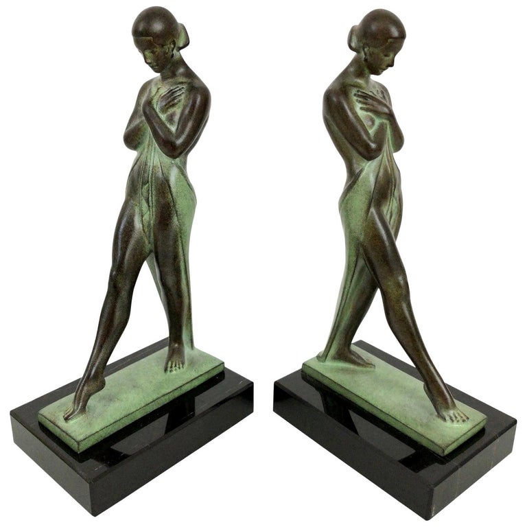 Art Deco Style Lady Bookends Meditation by Pierre Le Faguays for Max Le Verrier For Sale