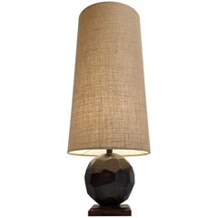 Art Deco Style Lamp with Natural Linen Shade