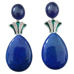 Art Deco Style Lapis Lazuli Blue Sapphire Gold Diamonds Green Enamel Earrings
