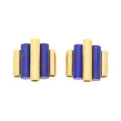 Art Deco Style Lapis Lazuli Cufflinks in 18 Karat Yellow Gold, circa 1940