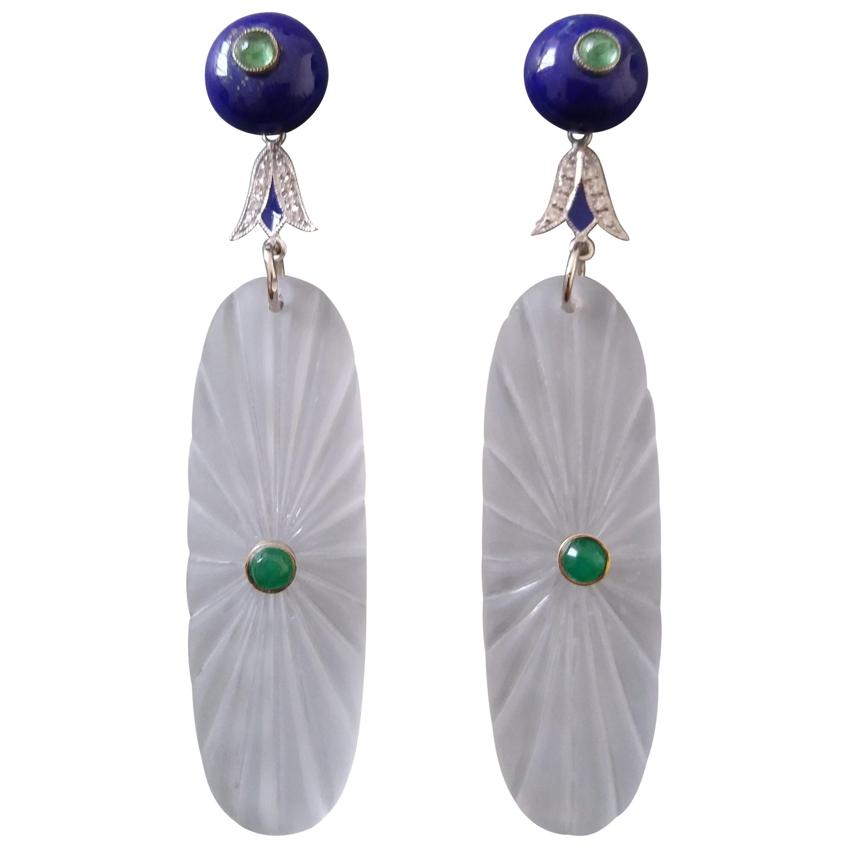 Art Deco Style Lapis Lazuli Rock Crystal Gold Diamonds Emeralds Enamel Earrings