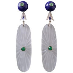 Art Deco Style Lapis Lazuli Rock Crystal Gold Diamonds Emeralds Enamel Earrings
