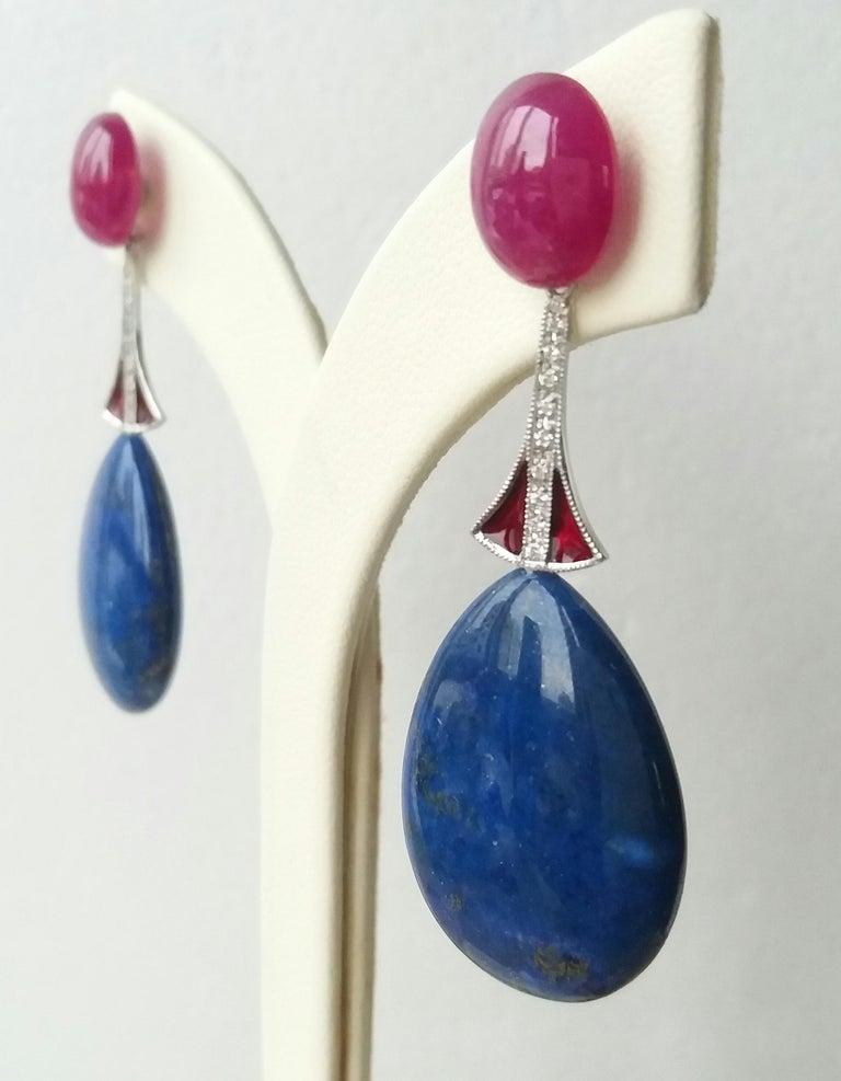 Mixed Cut Art Deco Style Lapis Lazuli Ruby Gold Diamonds Red Enamel Dangle Earrings For Sale