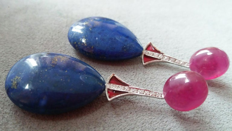 Art Deco Style Lapis Lazuli Ruby Gold Diamonds Red Enamel Dangle Earrings In Good Condition For Sale In Bangkok, TH