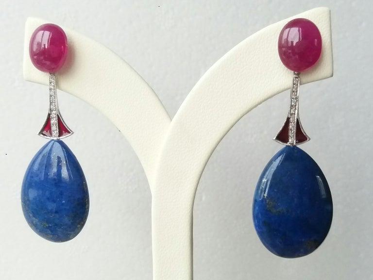 Art Deco Style Lapis Lazuli Ruby Gold Diamonds Red Enamel Dangle Earrings For Sale 1