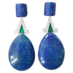 Art Deco Style Lapis Lazuli White Gold Diamonds Green Enamel Dangle Earrings