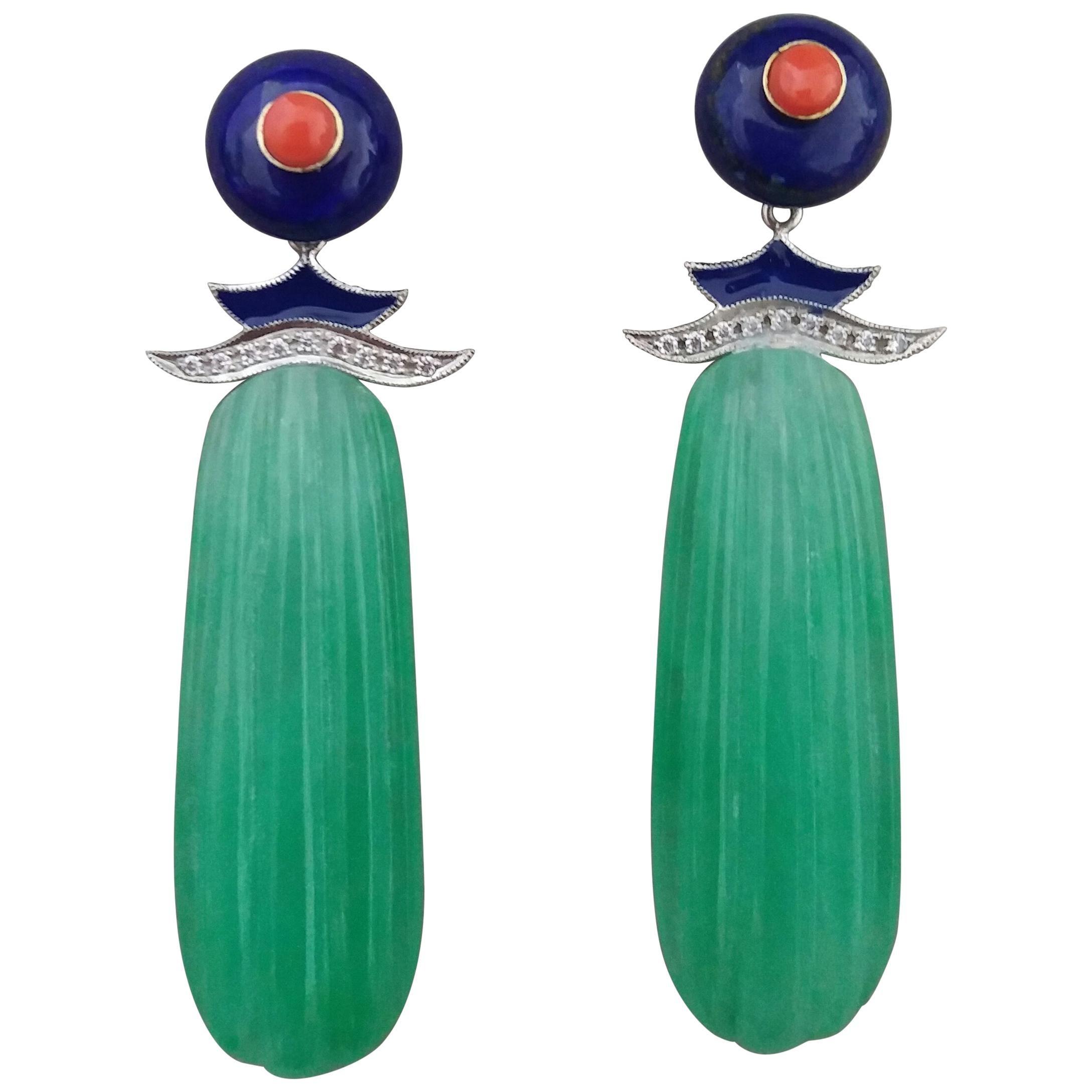 Art Deco Style LapisLazuli Gold Diamonds Coral Enamel Carved Jade Drop Earrings