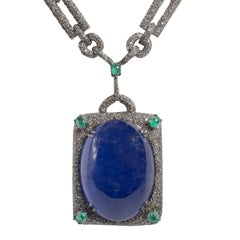 Art Deco Style Large 105 Carat Cabochon Tanzanite Diamond Emerald Long Necklace