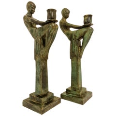 Art Deco Style Large Bronze Candleholders, Sweden, 1990s
