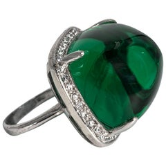 Art Deco Style Large Faux Cabochon Emerald Cubic Zirconia Ring