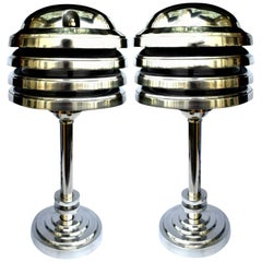 Art Deco Style Large Pair of Machine Age Industrial Table Lamps