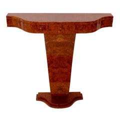 Art Deco Style Little Waved Console Table with Drawers in Amboina Burl Wood