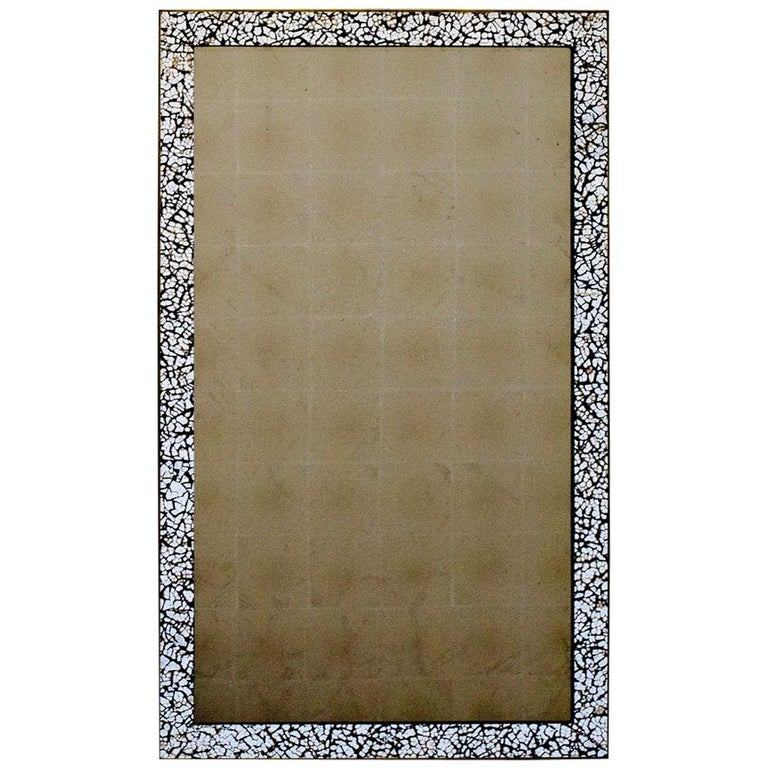 Art Deco Style L'oeuf Mirror, Hand-Cracked Eggshell and Lacquer Frame Rectangle For Sale