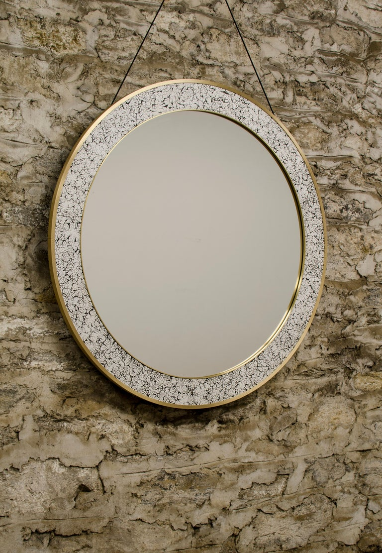 Contemporary Art Deco Style L'Oeuf Mirror with Hand-Cracked Eggshell and Lacquer Frame For Sale