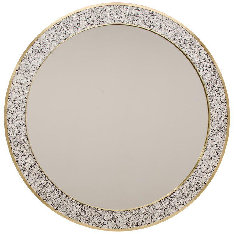 Art Deco Style L'Oeuf Mirror with Hand-Cracked Eggshell and Lacquer Frame For Sale