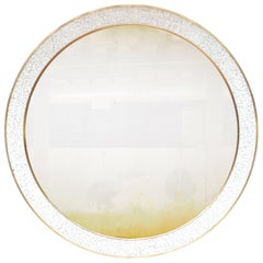 Art Deco Style L'Oeuf Mirror with Hand-Cracked Eggshell and Lacquer Frame Round