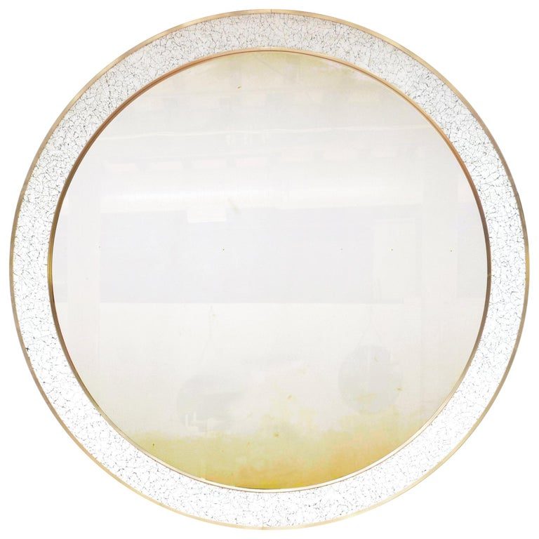 Art Deco Style L'Oeuf Mirror with Hand-Cracked Eggshell and Lacquer Frame Round For Sale