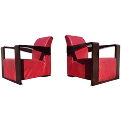 Art Deco Style Lounge Chairs, Red Leather
