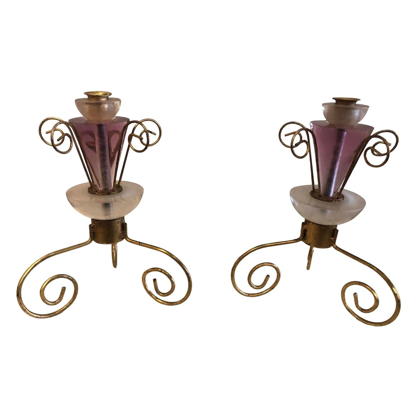 Art Deco Style Lucite and Gilt Metal Candlestick, a Pair