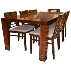 Art Deco Style Macassar Ebony Dining Table and Chairs