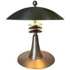 "Art Deco Style Machine Age Table Lamp w/ Large 14"" Spun Aluminum Shade"