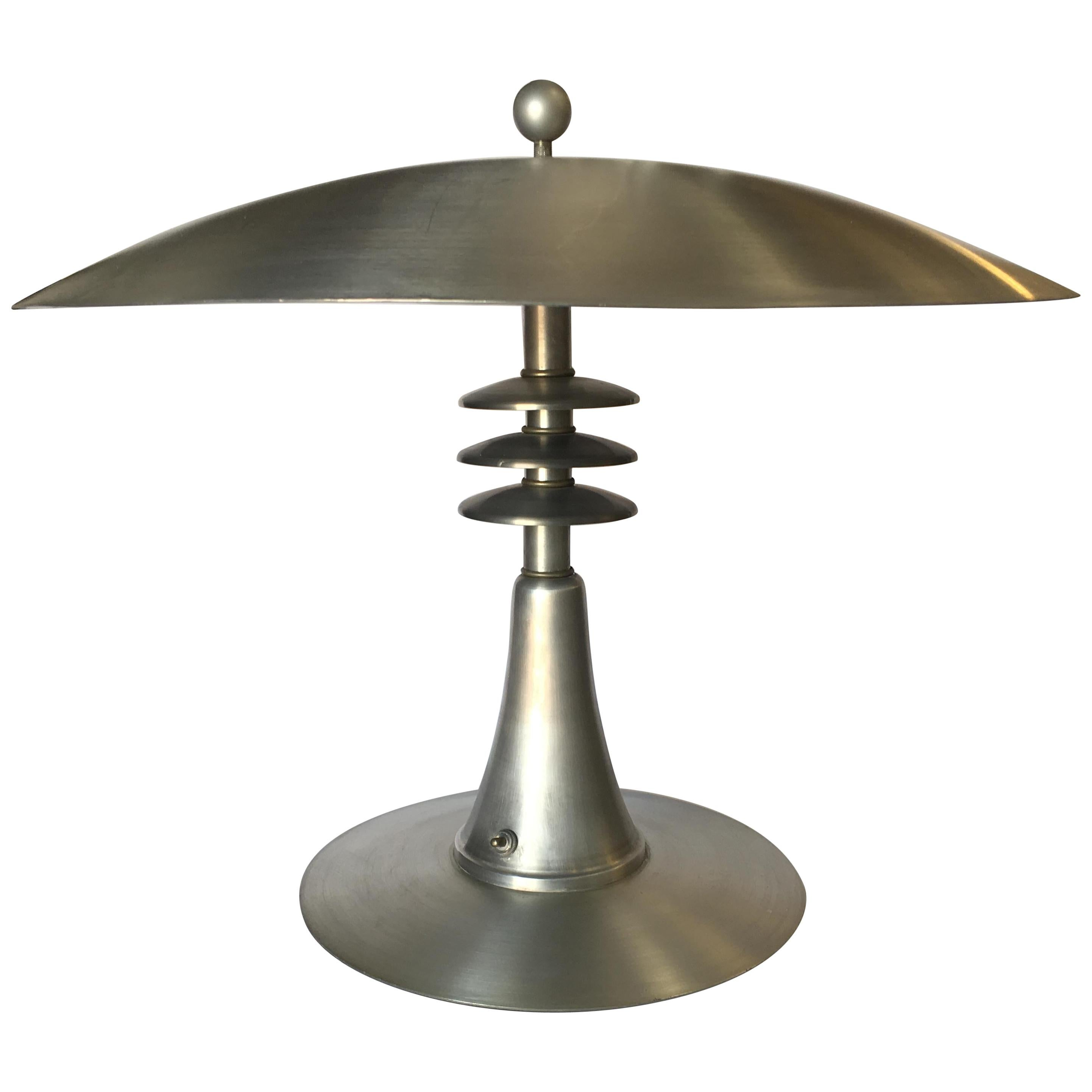 Art Deco Style Machine Age Table Lamp with Large Spun Aluminum Shade