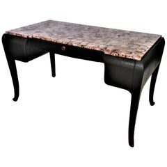 Art Deco Style Maitland-Smith Faux Ostrich Leather Writing Desk