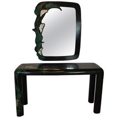 Art Deco Style Marble Console and Mirror