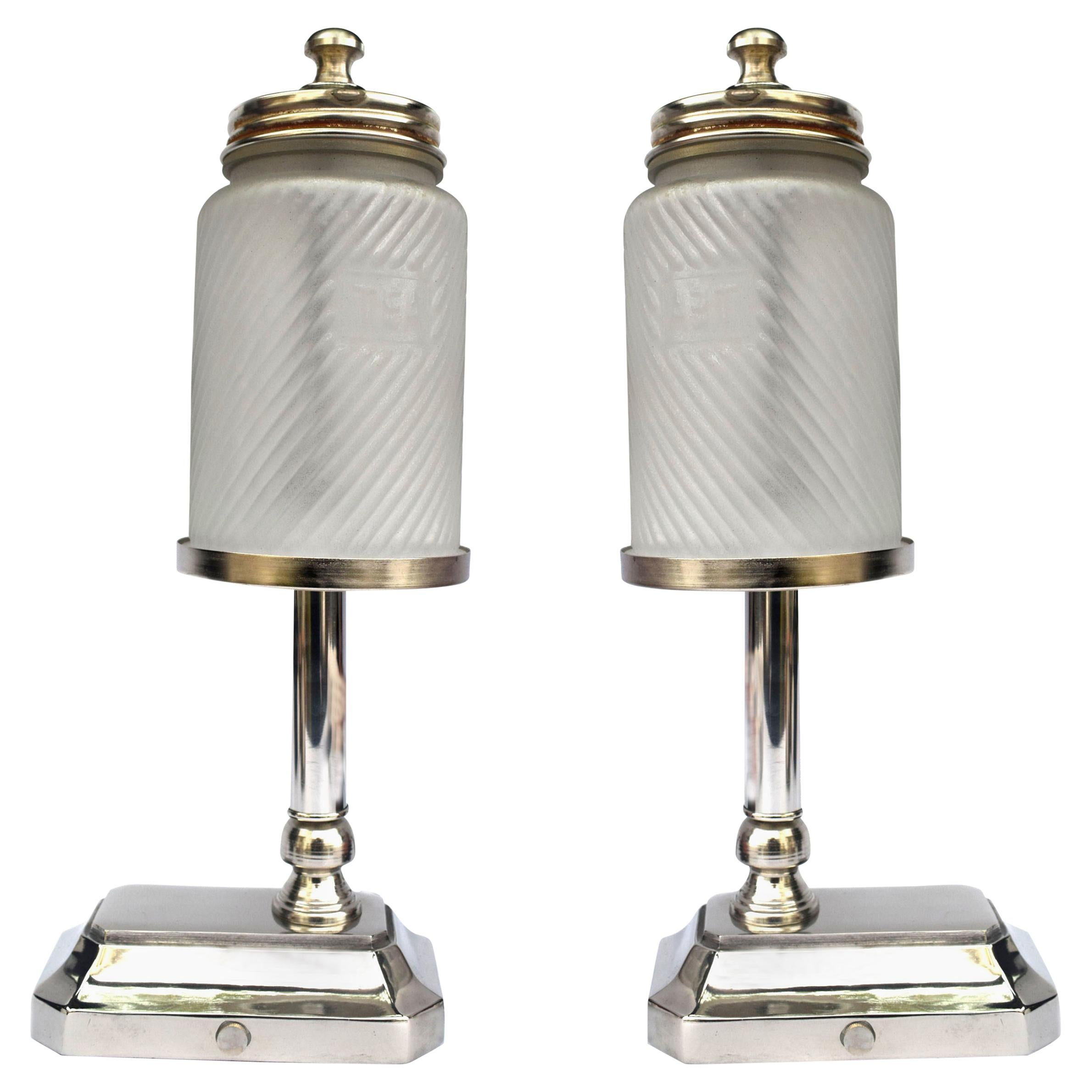 Art Deco Style Matching Pair of Chrome and Glass Table Lamps