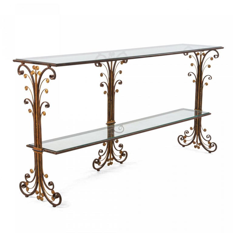 20th Century Art Deco Style Metal and Glass Console Table For Sale