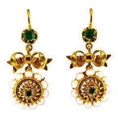 Art Deco Style Micro Pearls 0.70 Carat Emerald Yellow Gold Drop Stud Earrings