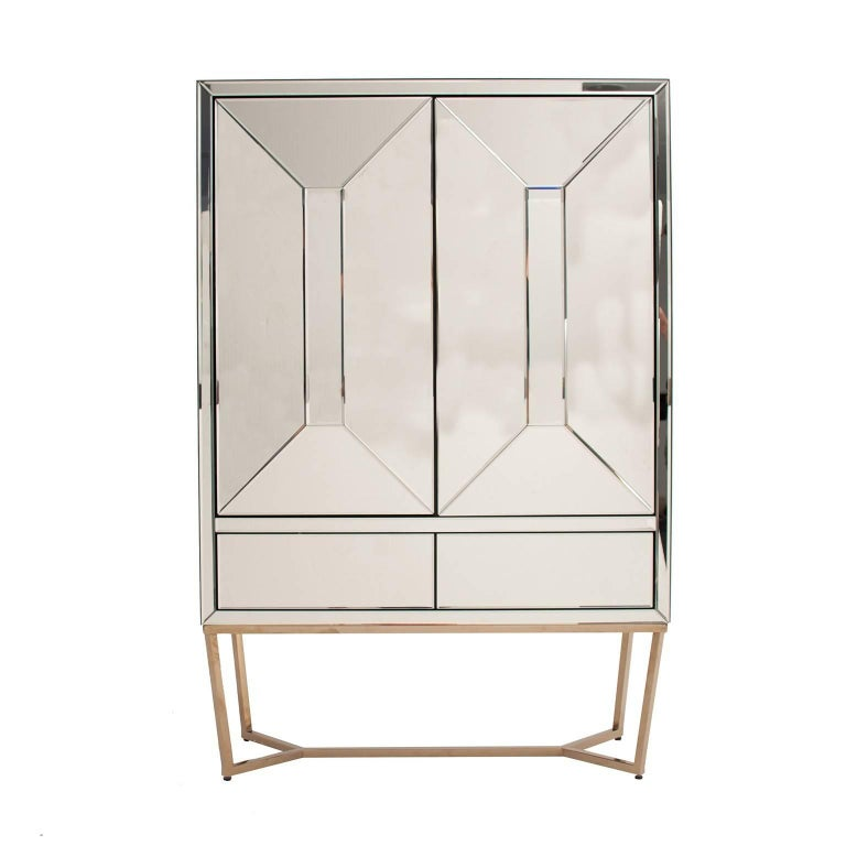 Art Deco Style Mirrored and Brass Cabinet