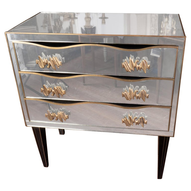 Art Deco Style Mirrored Commode For Sale