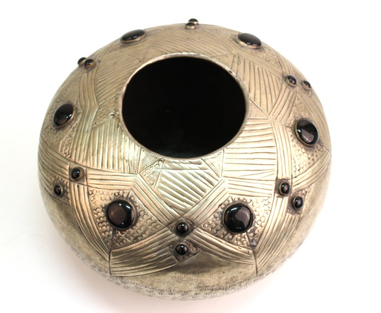 Art Deco Style Modern Hammered Metal Vessel with Faux Cabochon Inserts In Good Condition For Sale In New York, NY