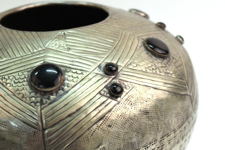 Art Deco Style Modern Hammered Metal Vessel with Faux Cabochon Inserts For Sale 1