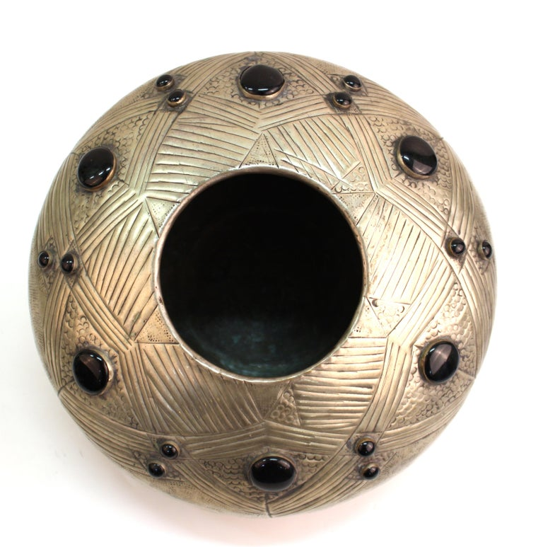 Art Deco Style Modern Hammered Metal Vessel with Faux Cabochon Inserts For Sale 4
