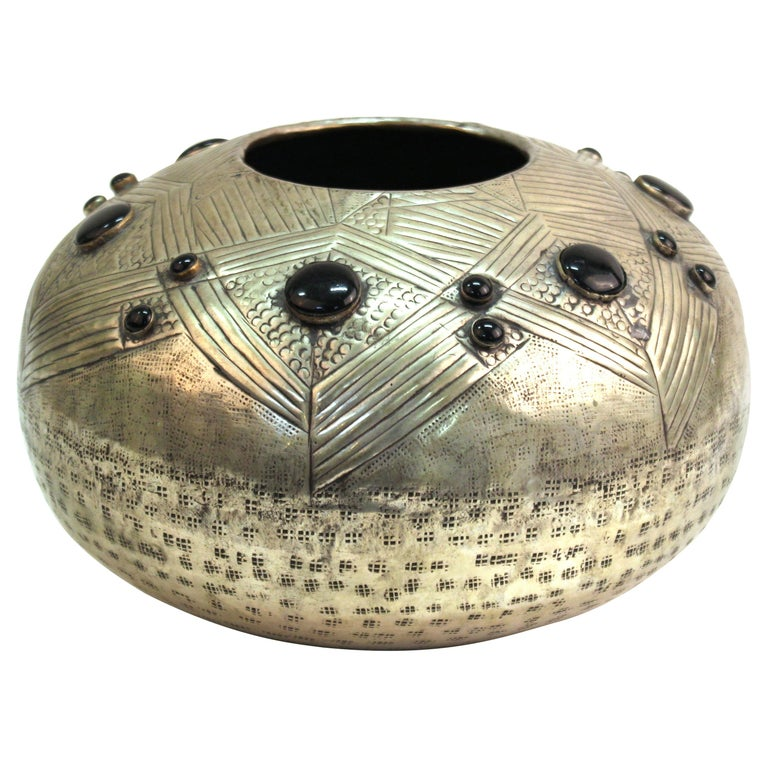 Art Deco Style Modern Hammered Metal Vessel with Faux Cabochon Inserts For Sale
