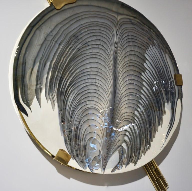 Art Deco Style Monumental Italian Black Gray White Murano Glass Flush/Wall Light For Sale 3