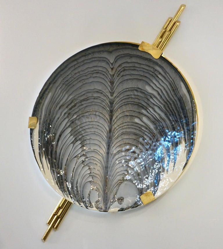 Art Deco Style Monumental Italian Black Gray White Murano Glass Flush/Wall Light For Sale 4