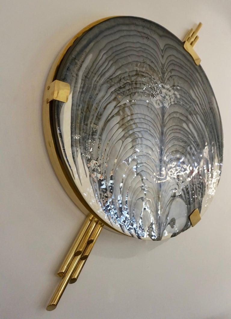 Art Deco Style Monumental Italian Black Gray White Murano Glass Flush/Wall Light For Sale 7