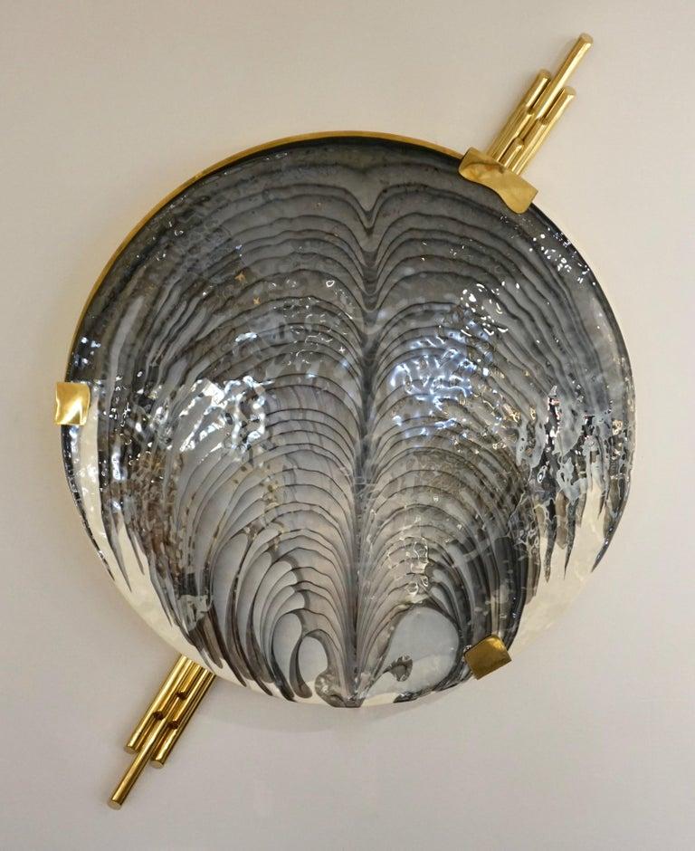 Art Deco Style Monumental Italian Black Gray White Murano Glass Flush/Wall Light For Sale 8