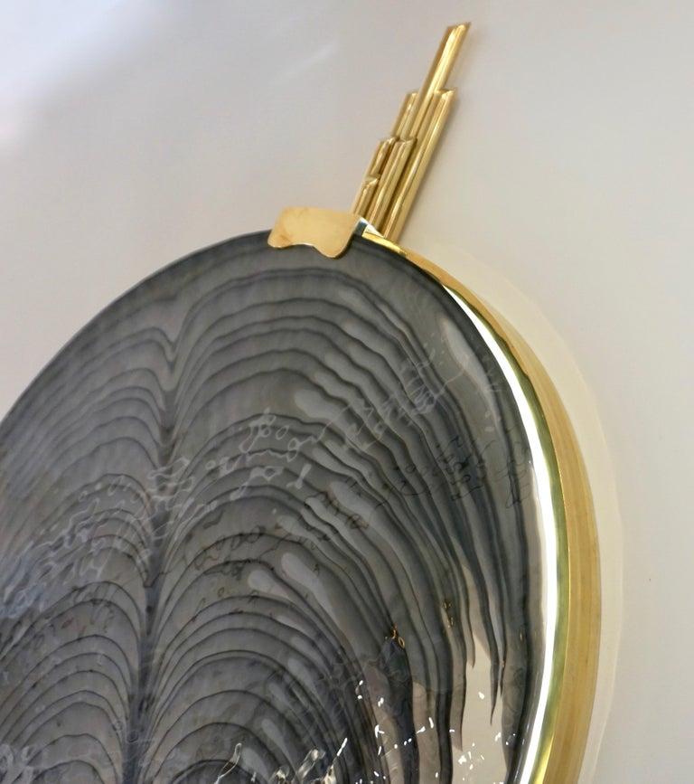 Late 20th Century Art Deco Style Monumental Italian Black Gray White Murano Glass Flush/Wall Light For Sale