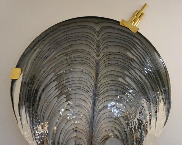Brass Art Deco Style Monumental Italian Black Gray White Murano Glass Flush/Wall Light For Sale
