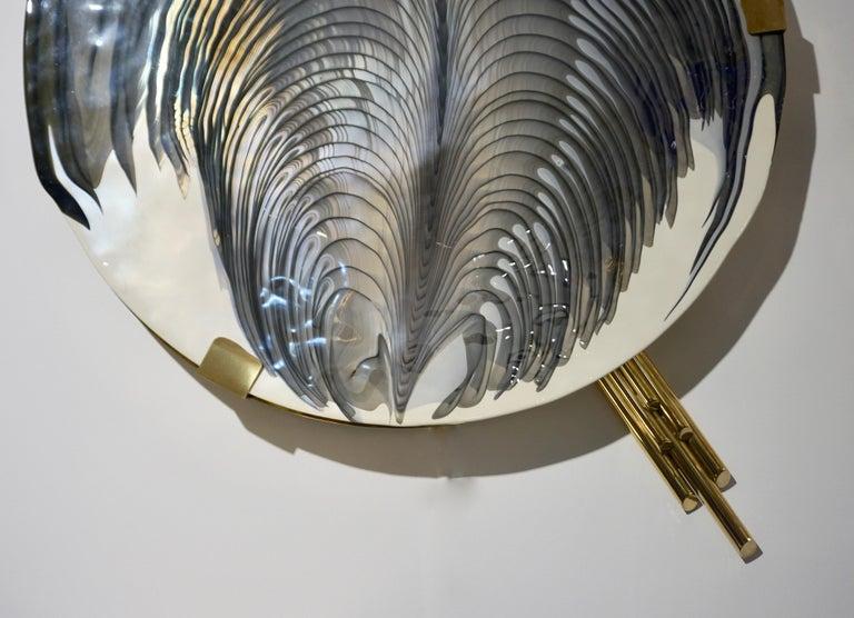 Art Deco Style Monumental Italian Black Gray White Murano Glass Flush/Wall Light For Sale 1