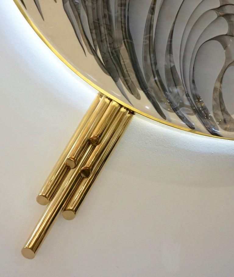 Art Deco Style Monumental Italian Black Gray White Murano Glass Flush/Wall Light For Sale 2
